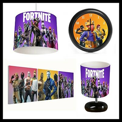 FORTNITE (456) - Unisex  Bedroom - Lampshade, Lamp, Clock & Pictures