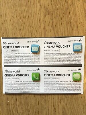 4 Cineworld cinema movie tickets expiry date 27/03/2019 By Email Or Post