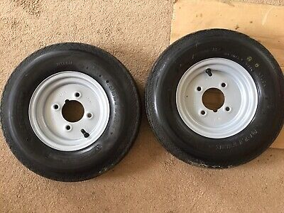 8 Inch Trailer Wheels & Tyres PAIR 2.50 x 8 & Tyres 4.00 x 8 New Unused V-213