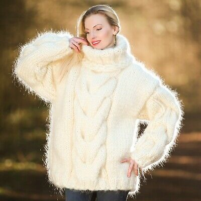 c6dd3d04e6 Mega thick pullover mohair sweater ivory cable hand knit heavy jumper  SUPERTANYA