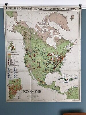 Vintage Philips' Comparative Wall Atlas of North America Economic School Map
