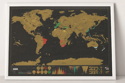 Deluxe Travel Edition Scratch Off World Map Poster (SIZE 42x30cm)