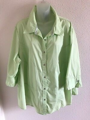 30f67f5e LANE BRYANT LIGHT Green Button Down Shirt Top Size 26/28 Plus Size ...