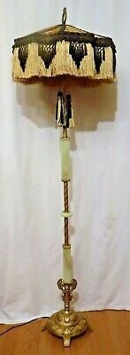 Antique Jadeite Floor Lamp Fringe Shade Matching Pull String Double Socket