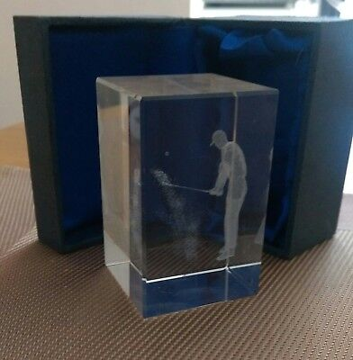 CLARISSO CONTENTO  Laser Etched 3D Crystal Glass Cube.GOLF PLAYER -  Boxed