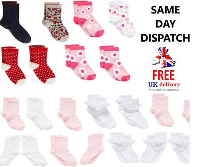 UK Baby/Toddler Socks 3-4 Years Girls Cotton Socks Designer Plain & Pattern Lot