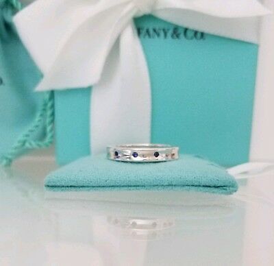 8f36d2d6a Tiffany & Co. Sterling Silver 3 Three Blue Sapphire Gemstone Band Stacking  Ring