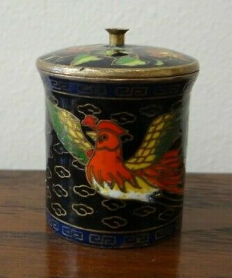 Vintage Chinese Cloisonne Enamel Lidded Pot Stamped To Base Bird of Paradise