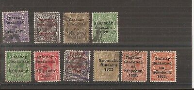 Ireland  Kgv  10 Stamps  Used
