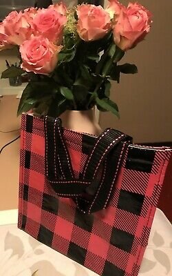 """Stylish Hot Pink Plaid Insulated Lunch Bag Tote With Easy Handles 8x10"""""""