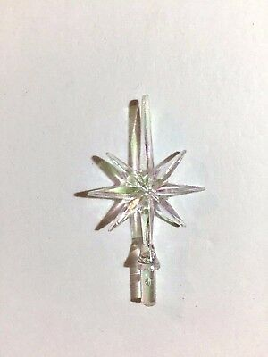 CLEAR IRIDESCENT AURORA SNOWFLAKE SMALL STAR Ceramic Christmas Tree TOPPER