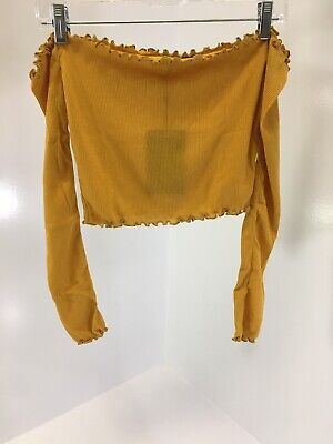 0c2d0920bab81 Pretty Little Thing Womens Off The Shoulder Frill Edge Crop Top Size 4us  Mustard