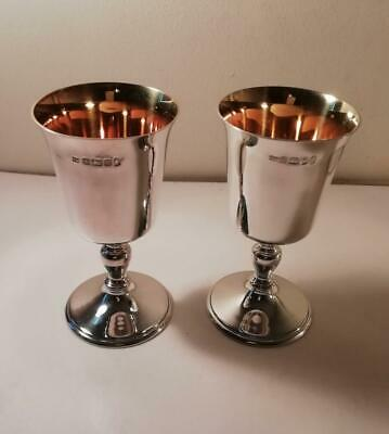 A Pair of Good Quality Silver Goblets w. Gilded Interiors: Sheffield 1977