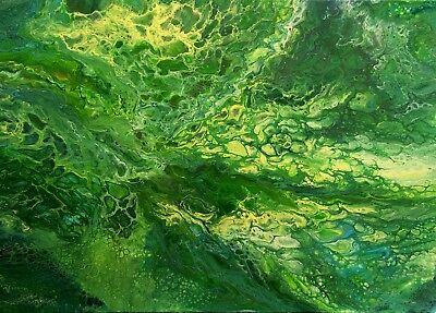 Original abstract acrylic fluid pour painting #64 GREEN 28x20 inch