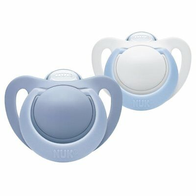 NUK Genius Silicone Orthodontic Soothers Dummy Pacifier 6-18m Baby Boy Blue 2PK