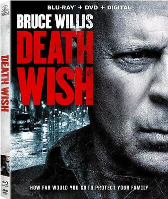 DEATH WISH (Blu-Ray + DVD + Digital 2 Disc Pack) 2018 w/ SLIP COVER NEW UNO