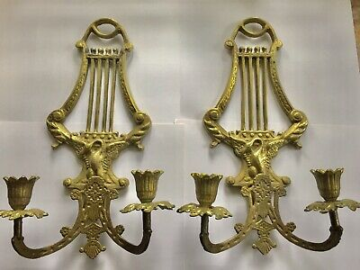 Wall Sconces with Swan Design - Pair Vintage Brass