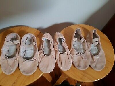 3 pairs of Bloch Girls ballet shoes Size 12C, 13C, 1C