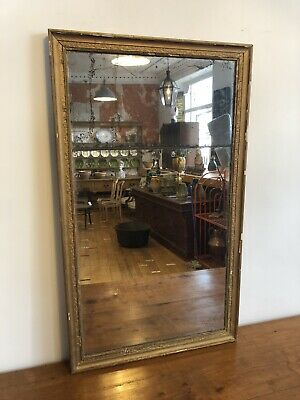 Antique Mirror, 19th Century French Gold Gilt Split Glass Mirror