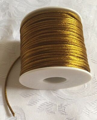 3Mx1.5mm Satin Jewellery Rope Cord DIY Nylon Child Safe Necklace String GOLD