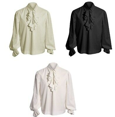 Long Sleeve Blouse Man Drama Costumes Shirt Ruffles White Pullover Stretchy Men