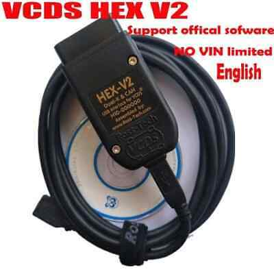 VCDS HEX V2 Interface VAG COM 18.9 VW AUDI SKODA SEAT ENGLISH /GERMAN HEX+CAN