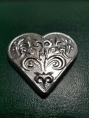 1.98 ozt hand poured 999 Silver Heart