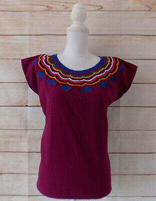 Handmade Womens Embroidered Mexican Blouse Medium Purple Bohemian Fiesta Shirt