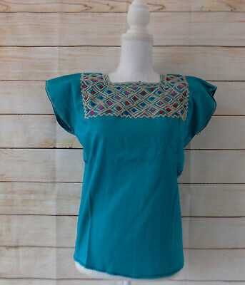 Handmade Womens Embroidered Mexican Blouse Medium Teal Green Bohemian Fiesta