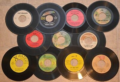 45 RPM Records - 11 Vinyl Singles Lot w/ Book - Spoken Word Comedy Adult Novelty