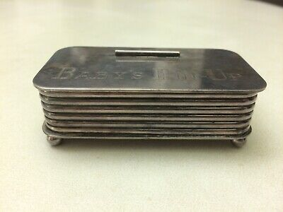Vintage  BABY'S PIN - UP Silver Plated Safety Pin Box by Victoria