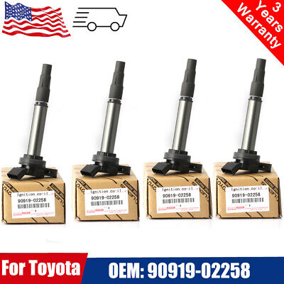 4PCS Genuine Ignition Coil 90919-02258 For Toyota Corolla Matrix Prius Scion new