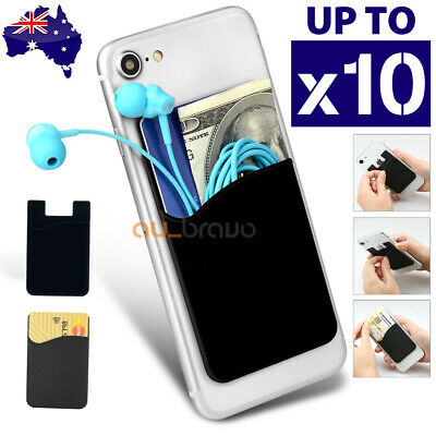 Silicone Mobile Phone Back Card Holder Wallet 3M Stick On Adhesive Cash ID Soft
