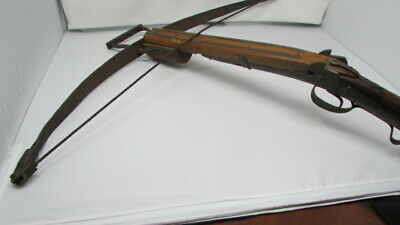Antique 19Th Century Victorian Crossbow With Decorative Brass Plating & Iron