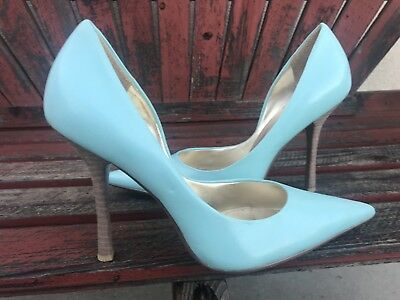 74d3a0b5242  miNT LiGht bLUE LeATheR Sz 8 Pointy Toe CARRIE Stiletto Heel PUMP GuESS  Pastel