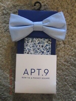 546fbce36a5c Men's Apt. 9 Bow Tie and Pocket Square Pale Blue and mini floral New with