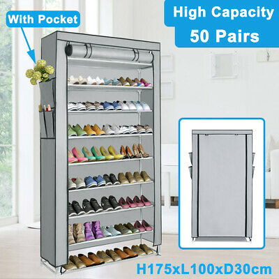New 50 Pairs 10 Tiers Shoe Rack Organizer Storage Shoes Cabinet Stand Stackable