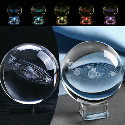 60mm 3D Clear Glass Engrave Solar System Crystal Ball With LED/Metal Base Gift