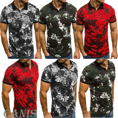 New Men's Slim Fit Polo Shirts Short Sleeve Casual Golf T-Shirt Casual Tops Tee
