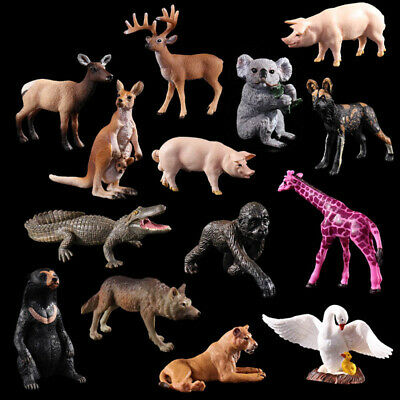 Wildlife Animal Model Action Figures - lion, Giraffe, wolf, Bear, kangaroo, Dog