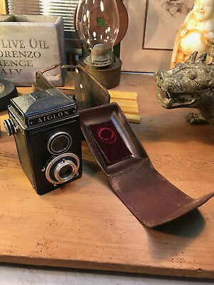 Vintage 1940's French Aiglon Atom-1 Rex Camera in Original Leather Case