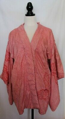 VINTAGE Japanese Pink White Textured Silk Reversible Traditional Kimono Robe XL