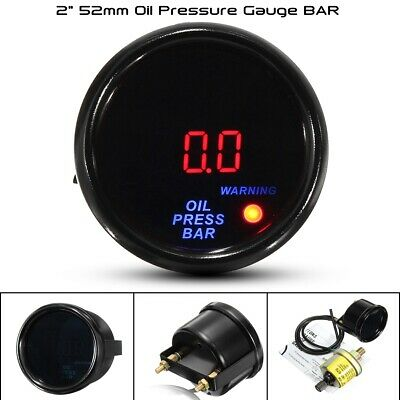 2'' 52Mm Universal Led Auto Pressione Manometro Olio Con Sensor 0-10 Bar
