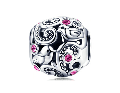 Authentic 925 Sterling Silver Pink Round Beads fits Charm Bracelets