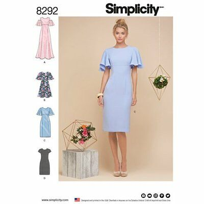 Simplicity Sewing Pattern 8292 Misses 6-14 Petite Dresses Sleeve Options Maxi