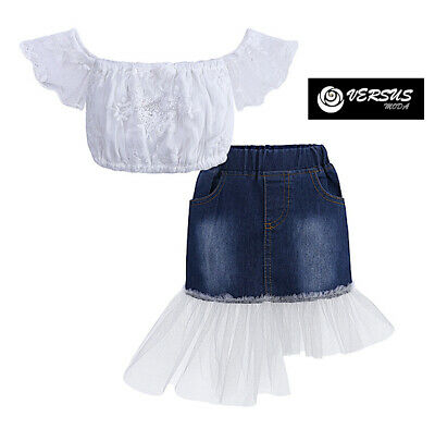 Bambina Maglia Top Spalle Scoperte Gonna Jeans Tulle Girl Skirt Set SETCH21