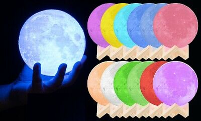 Colour Changing 3D LED Moon Lamp 3 Sizes 16 Colours Night Light with Remote