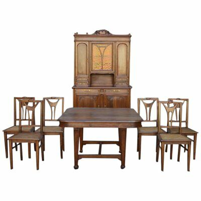 Rare French Art Nouveau Dining Room Set In Carved Walnut Circa 1900