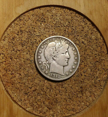 1912 P 50C Barber Half  Circulated  90 % Silver US Coin VF BH284 FREE SHIPPING
