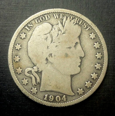 1904 O 50C Barber Half Circulated Condition 90 % Silver US Coin #223 A VG